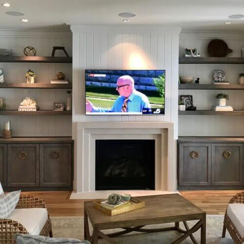 A family media room in a north Dallas Texas home, installation by 7pixl